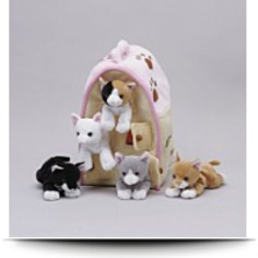 Plush Cat House With Cats